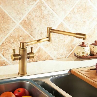 Foldable Single Hole 2-Handle Kitchen Sink Faucet Twin Lever Tap Antique Brass