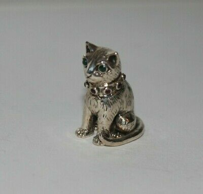 Pretty Solid Silver Novelty Cat With Emerald Eyes and Rubies Around the Collar