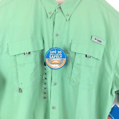 2bbfe3b1 Columbia PFG Vented Fishing Shirt XXL Bahama II Long Sleeve Green UPF 30 New