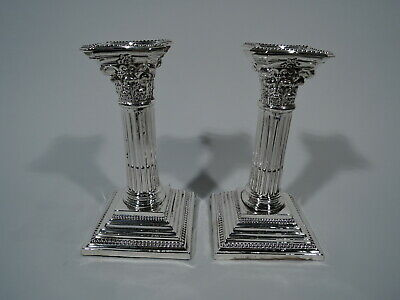 Edwardian Candlesticks - Classical Pair - English Sterling Silver - Chester 1904