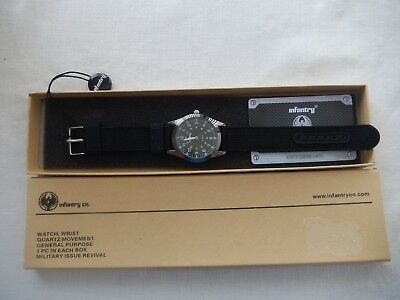 (Nib) Men's Infiltrator Black Wrist Watch With Quartz Movement By Infantry