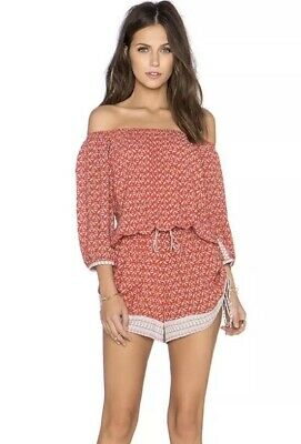 26d65805167 Faithfull the Brand Romper XS Rio Playsuit in Haute Boheme Orange Paisley  Bird