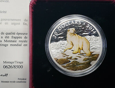Iconic Polar Bear 2014 Canada 20$ 99.99% silver limited coin