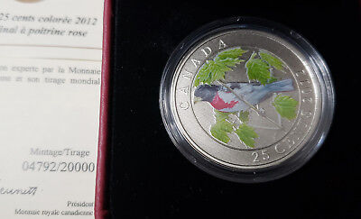 2012 Rose Breasted Grosbeak 25 Cent Canada Coloured Coin Mint Box