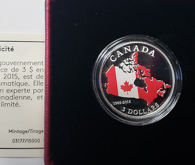 2015 Canada $3 2015 50th Anniversary of Canadian Flag Silver coin Limited