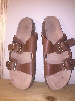 2b6267b731052 New Lands End Size 10 M Tan Leather Slip On Buckle Slide Sandals Shoes For  Women