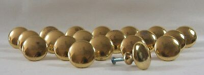 Lot Of 20 Vintage Brass Tone Metal Classic Round Knobs / Pulls