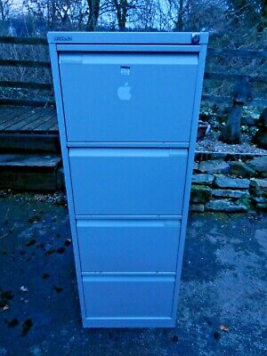 Grey Metal Bisley 4 Drawer Filing Cabinet - Files Included - Good Condition