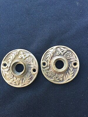 Set of 2 Antique Brass Bronze Eastlake Victorian Door Knob Rosettes Round 1890s