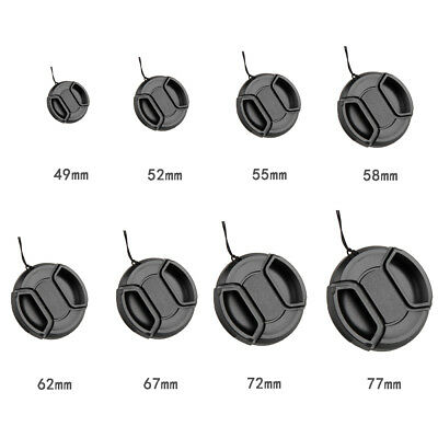 For Canon Nikon Sony & String 49-77mm Center Pinch Snap On Front Lens Cap Cover.