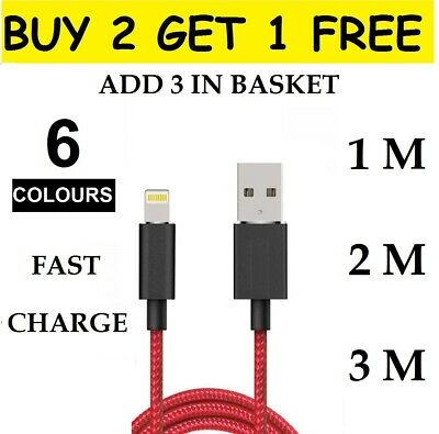 Genuine Braided USB Quick Charger Data Charging Cable For iPhone 6s 7 8 6 5s X
