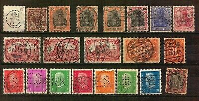 Germany Deutsches Reich PERFIN stamp lot used infla Germania Inflationary years