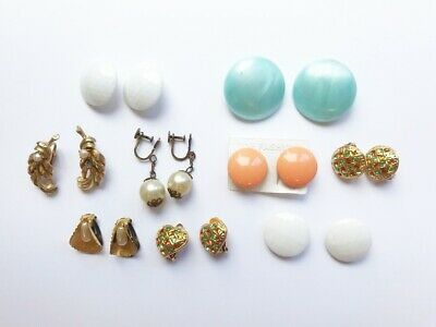 Joblot Of 9 Pairs Of Colourful Round & Gold Vintage Clip On Earrings