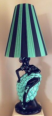 PLASTIC RIBBON TEAL & BLACK LAMPSHADE for *TALL* BARSONY LADY LAMP