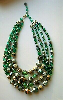 Vintage Multi Strand Green Bead Necklace 1950s Germany 17""