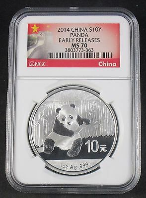 2014 NGC MS70 Chinese Silver Panda 10 Yuan 1 OZ Early Releases