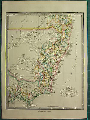 1872 James Wyld Map ~ New South Wales Victoria & Queensland Hand Coloured