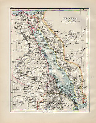 1899 Victorian Map ~ Red Sea
