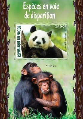 Niger 2016 Sheet Mnh Endangered Species Panda Bears Wildlife Monkeys 2A