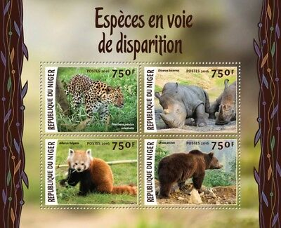 Niger 2016 Sheet Mnh Endangered Species Red Panda Bears Wildlife Felines 2