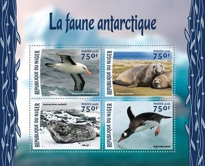 Niger 2016 Sheet Mnh Antarctic Wildlife Faune Antarctique Sea Lions Penguins 2
