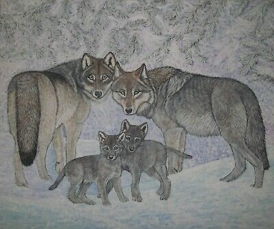 "original oil painting - Snow day,  Wolves and Pups ,  size 24""x 20"" x 5/8"""