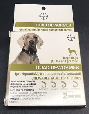 Bayer Quad Dewormer 2 Chewable Tablets LARGE DOGS 45lbs + Feb 2020