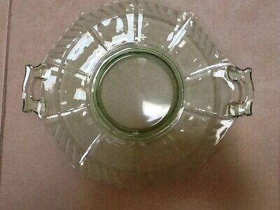 "Vintage 10 1/2"" Green Depression Glass Serving Plate w/Side Handles"