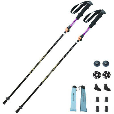 WOTOW Collapsible Trekking Poles, 1 Pair (2 Poles) Ultra-Light Traveling Hiking