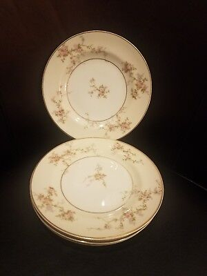 """4- Theodore Haviland Limoges Smooth Pink and White Floral Gold Trim 6.25"""" Plates"""