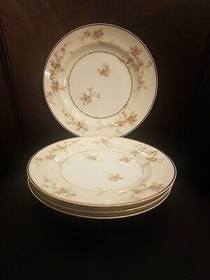 """4 - Theodore Haviland Limoges Smooth Pink and White Floral Gold Trim 7.5"""" Plates"""