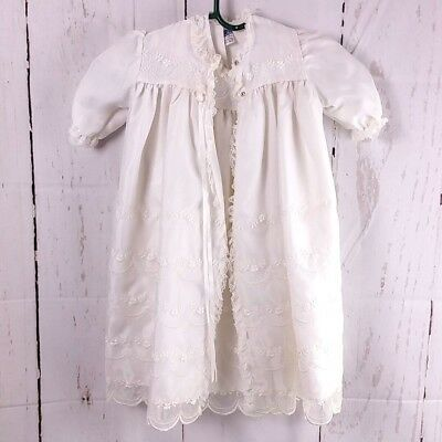 Vtg Phyllis Baby Christening Gown Coat Off White Baptism Dress Embroidered