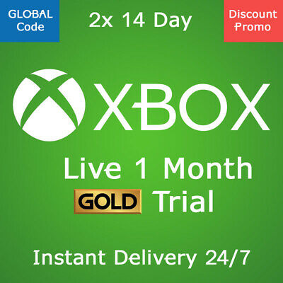 XBOX LIVE Gold 1 MONTH Membership Code Xbox One ( 2x 14 Day ) trial 28 Day
