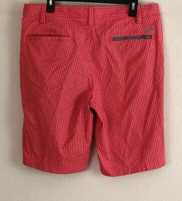 Under Armour Mens Golf Shorts Sz 36 Gingham Plaid Pink Gray Checkered Pockets U1