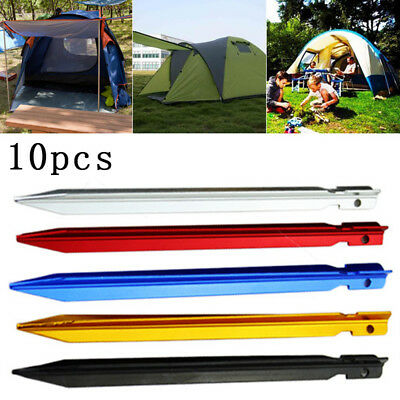 5/10pcs Aluminium Alloy Outdoor Camping Trip Tent Pegs Stake Awning Nail 18cm