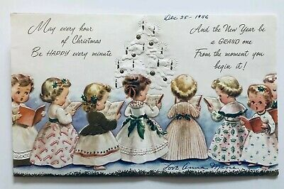 Vintage Christmas Card Girl Choir Church Gold Star Tree Candy Cane Dress Holly