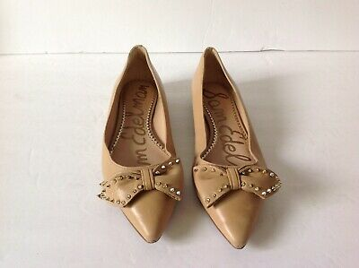 c61ceb4de12312 SAM EDELMAN RAISA Bow Studded Women s Leather Beige Gold Tan Flat Sz ...