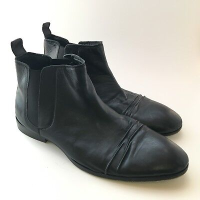 a5437f7759c PAOLO VANDINI 44/10 Boots Black Chelsea Pull On Soft Leather Mens ...