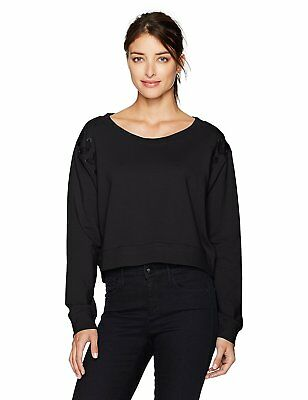 CALVIN KLEIN SWEATSHIRT Womens Cropped Fleece with Lace Up Shoulders L Black NEW