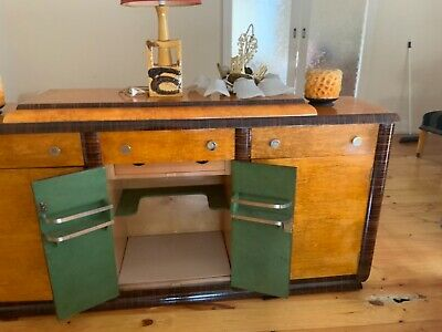 art deco dining suite 1930 s 1940 s reupholstered seats and sideboard