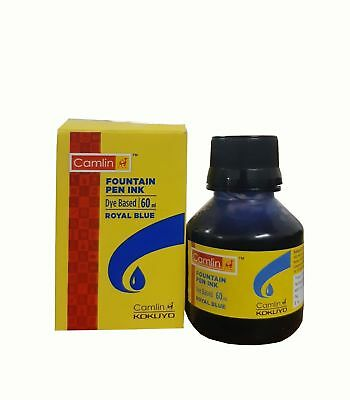 Camel Fountain Pen Ink ROYAL BLUE Bottle 60 ml 2 oz Camlin Single Qty Sealed