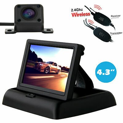 "Wireless IR Reversing Parking Camera+4.3"" LCD Monitor Foldable Car Rear View Kit"