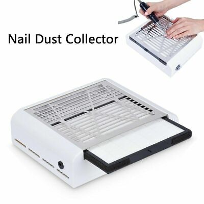 40W Nail Vacuum Cleaner Manicure Dust Fans Collector Suction Fingernail 2IN1 UK
