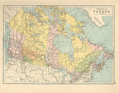 1880 Victorian Map ~ Dominion Of Canada ~ British Columbia Quebec Nova Scotia