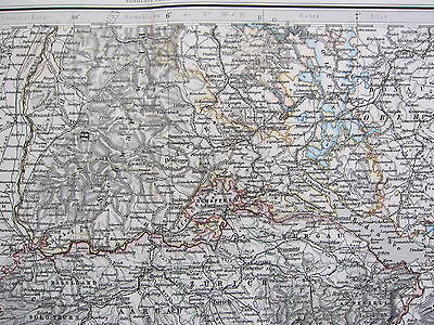 1870 Dated Map ~ South West Germany & Switzerland ~ Adolf Stieler Hand Coloured