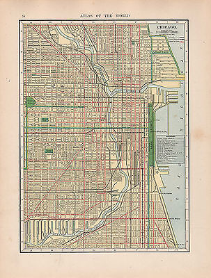 1909 Map ~ Chicago City Plan Railroads Streets Public Buildings Stations