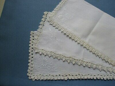 3 Vintage Embroidered Handkerchiefs With Hand-Crocheted Edgings