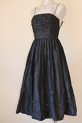 Vintage Pearl Bead Ruched Acetate French Cocktail Party Dress 8