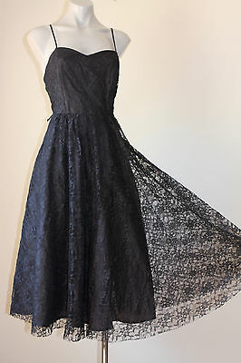 Vintage French Boned Daisy Lace Swingy Cocktail Party Dress 10