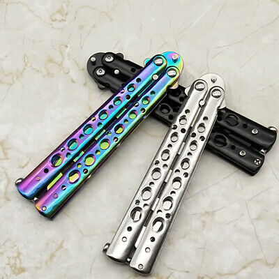 Outdoor Dull Blade Metal Training Knife Practice Tool Trainer Butterfly Knife.
